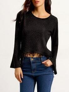 Black Bell Sleeve Tassel T-Shirt