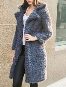 Dark Grey Lapel Long Coat