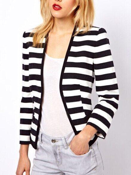 Black Striped Long Sleeve Crop Blazer