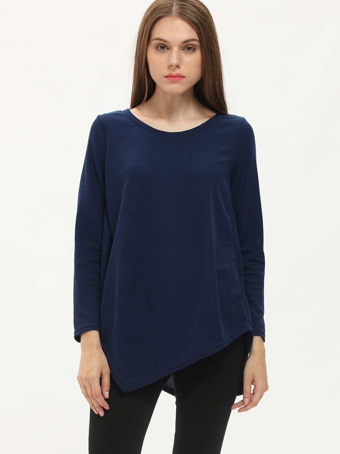 Navy Long Sleeve Asymmetrical T-Shirt