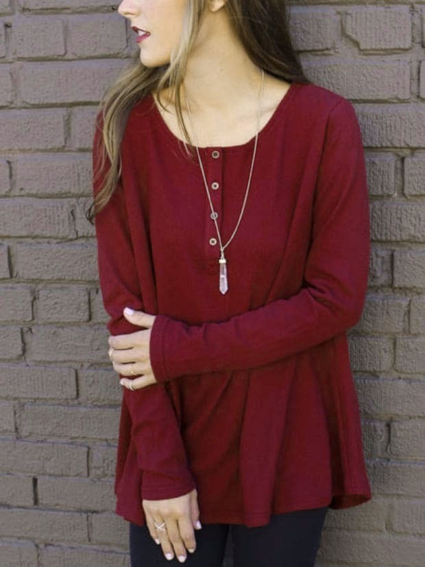 Maroon Round Neck Buttons Long T-Shirt