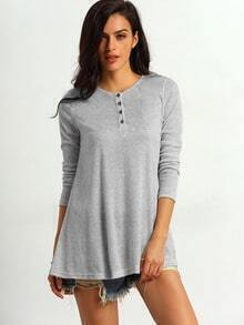 Grey Round Neck Buttons Long T-Shirt