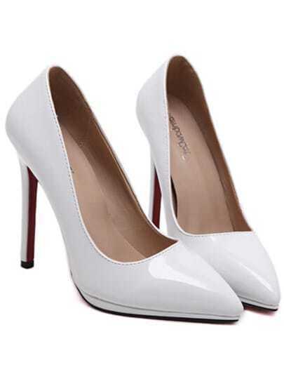 White Pointy PU Stiletto Heels