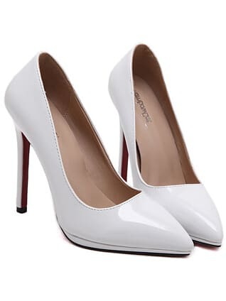 White Pointy PU Stiletto Heels
