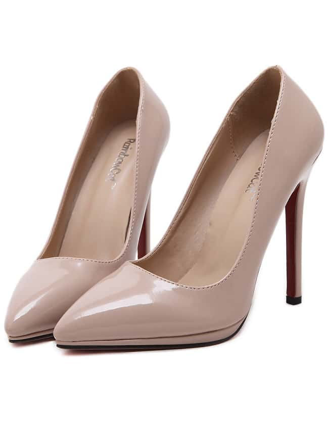 Nude Pointy PU Stiletto Heels