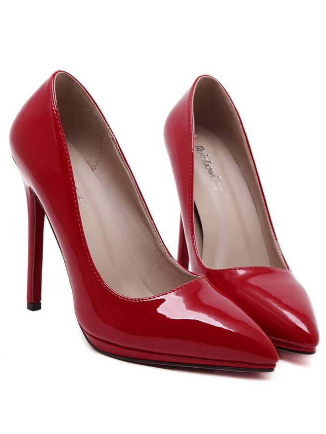 Red Pointy PU Stiletto Heels