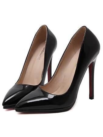 Black Pointy PU Stiletto Heels