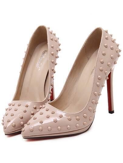 Apricot Pointy Studded PU Stiletto Heels