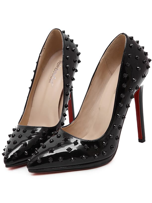 Black Pointy Studded PU Stiletto Heels