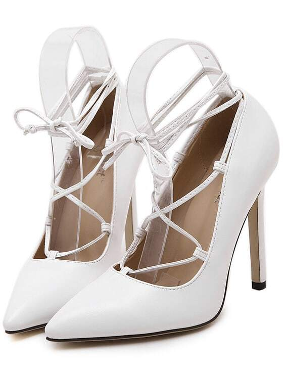 White Pointy Slingbacks PU Stiletto Heels