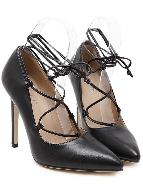 Black Pointy Slingbacks PU Stiletto Heels