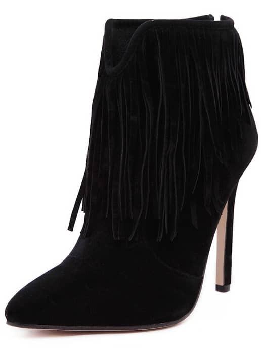 Black Pointy Tassel Stiletto High Heeled Boots