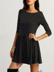 Black Round Neck Backless Dress
