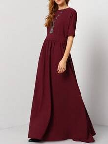 Burgundy Round Neck Maxi Dress