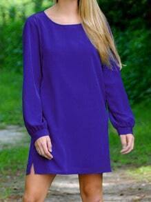 Blue Long Sleeve Round Neck Dress