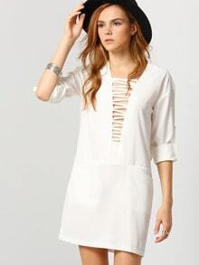 White Long Sleeve Pockets Dress