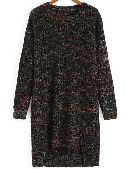 Black Round Neck Dip Hem Sweater Dress