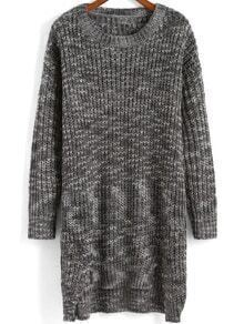 Grey Round Neck Dip Hem Sweater Dress