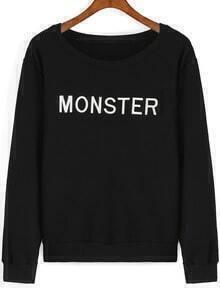 Black Round Neck MONSTER Embroidered Sweatshirt