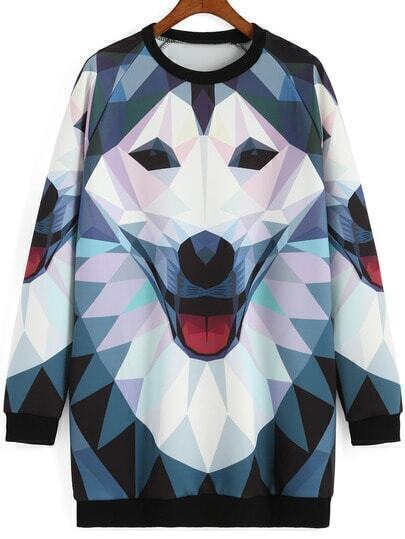 Multicolor Round Neck Wolf Print Sweatshirt