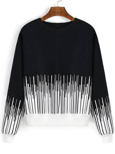 Black White Round Neck Vertical Stripe Sweatshirt