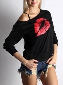 Black Round Neck Red Lip Print Sweatshirt