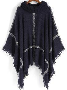 Navy High Neck Plaid Tassel Cape
