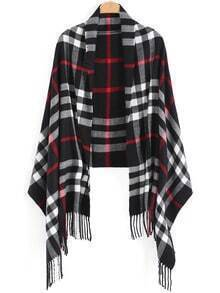 Black White Plaid Tassel Scarve