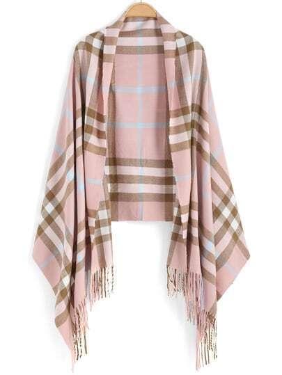 Pink Khaki Plaid Tassel Scarve
