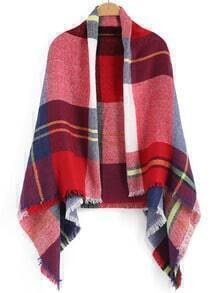 Red Plaid Fringe Scarve