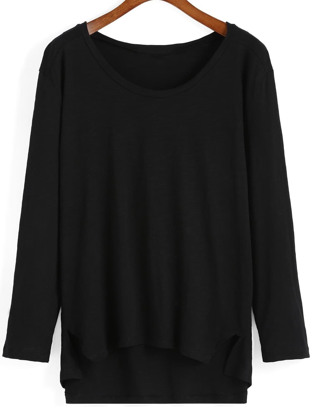 Black Round Neck Dip Hem T-Shirt