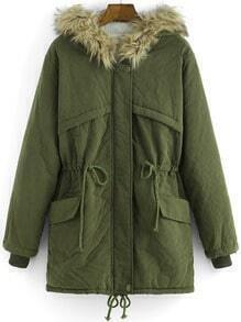 Army Green Faux Fur Hooded Drawstring Loose Coat