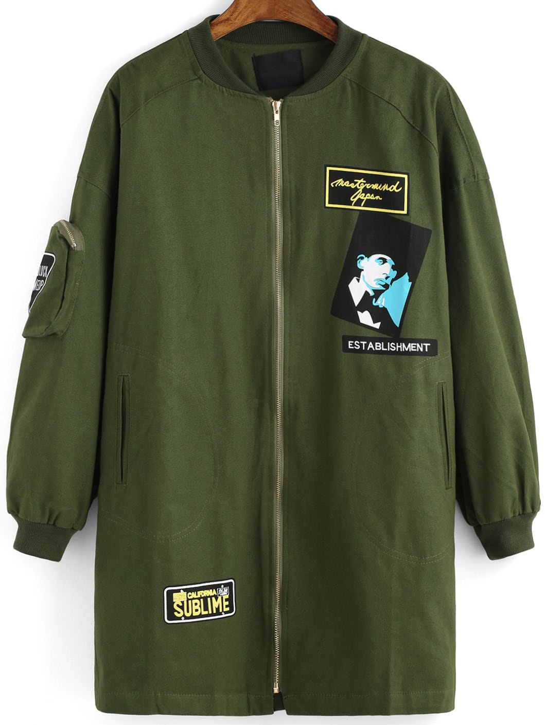 Army Green Long Sleeve Portrait Print Coat