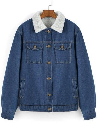 Blue Contrast Lapel Single Breasted Denim Coat