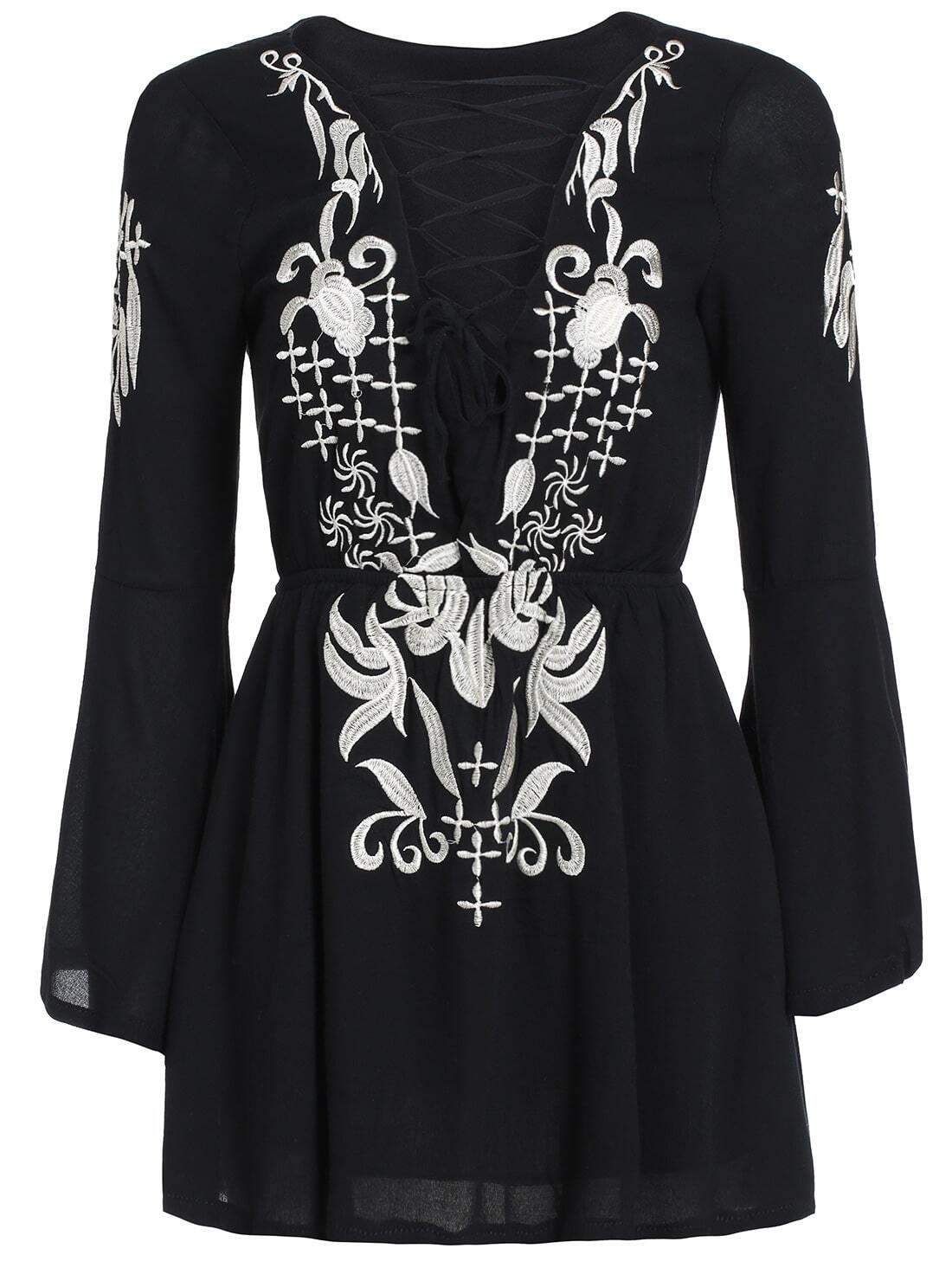Black Long Sleeve Embroidered Bandage Dress