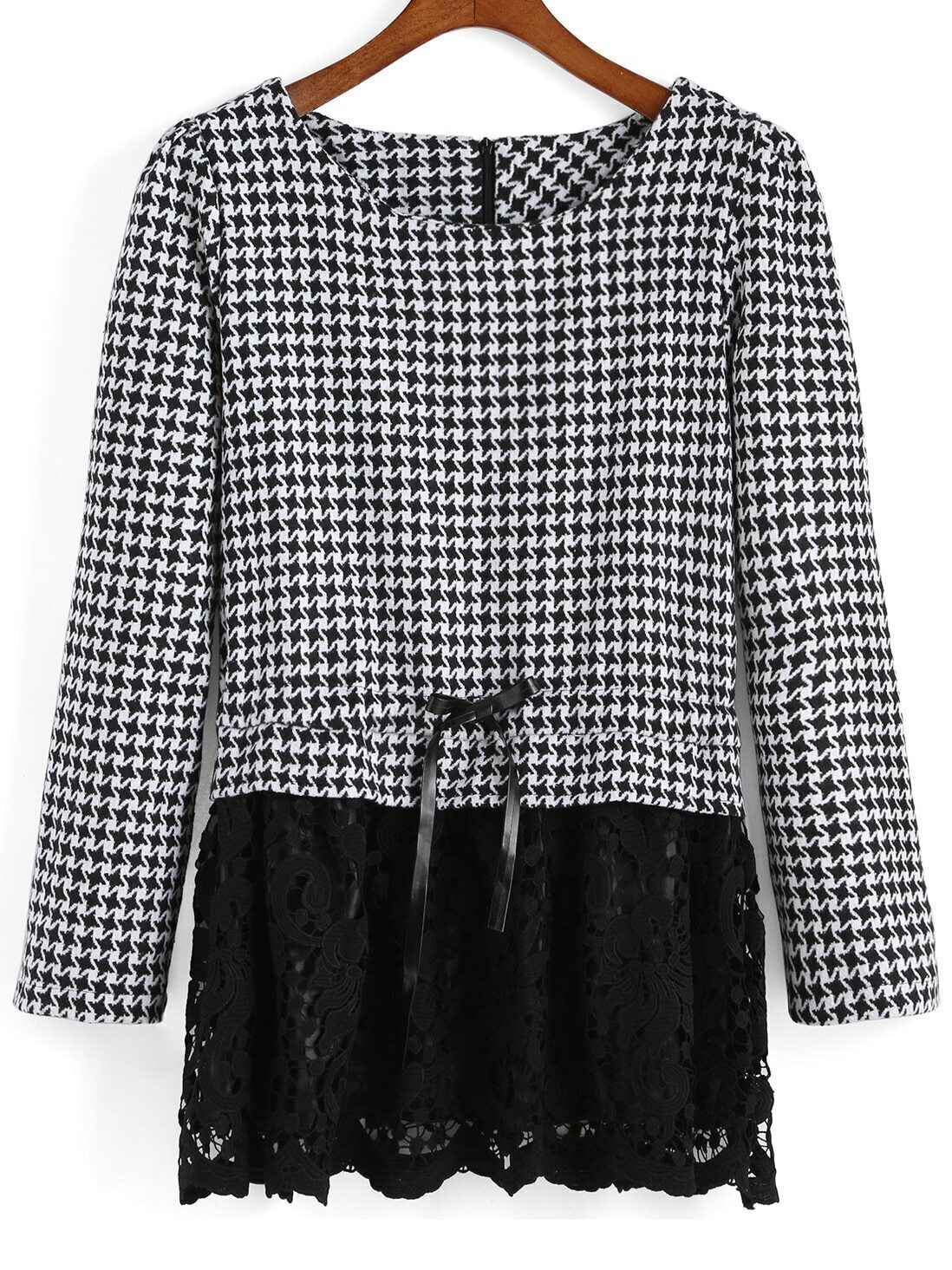 Black White Round Neck Houndstooth Lace Blouse