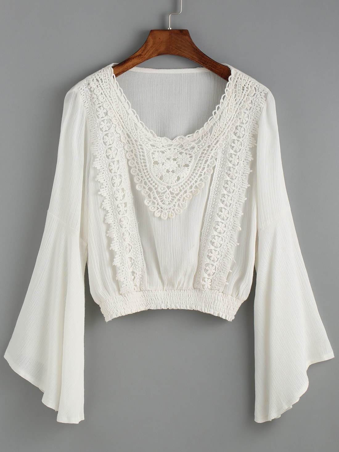 White Bell Sleeve Crop Blouse