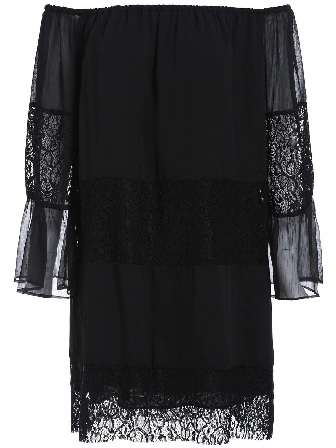 Black Boat Neck Sheer Mesh Lace Dress