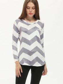Grey White Round Neck Wave Pattern T-Shirt