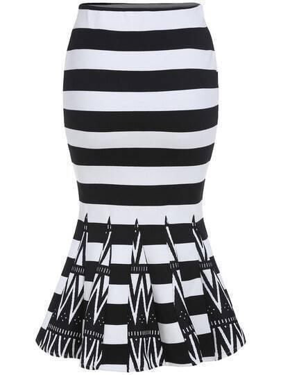 Black White Striped Fishtail Skirt
