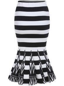 Black White Striped Fishtail Skirt