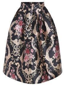 Gold Black High Waist Floral Flare Skirt