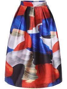 Multicolor High Waist Flare Skirt