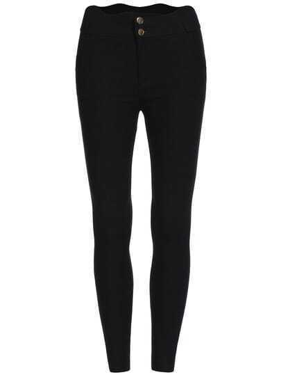 Black Buttons Skinny Elastic Pant