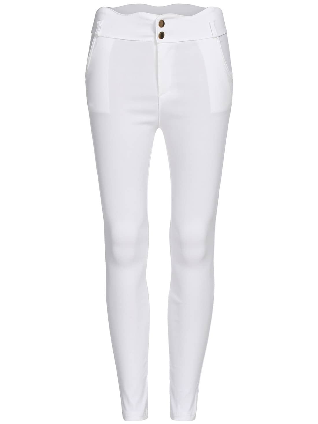 White Buttons Skinny Elastic Pant