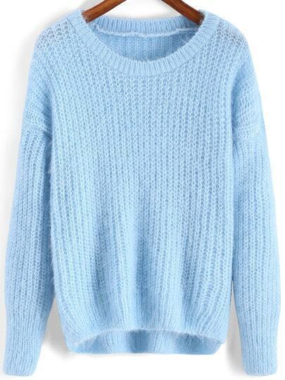 Blue Round Neck Dip Hem Loose Sweater