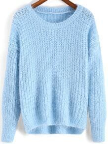 Blue Round Neck Dip Hem Loose Sweater