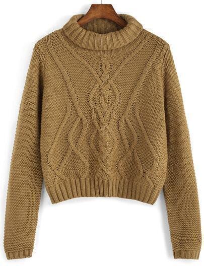 Khaki High Neck Long Sleeve Crop Sweater