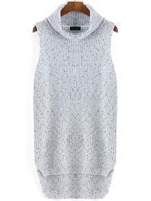 Grey High Neck Sleeveless Dip Hem Sweater