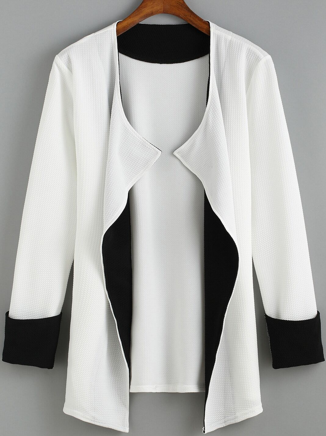 White Long Sleeve Loose Trench Coat